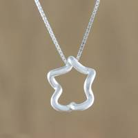 Sterling silver pendant necklace, 'Abstract Star' - Sterling Silver Abstract Star Necklace from Thailand