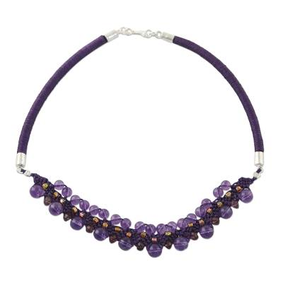 Amethyst collar necklace, 'Let's Party' - Amethyst Collar Necklace Handcrafted in Thailand