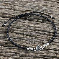 Silver accent cord bracelet, 'Spiral Simplicity' - 950 Karen Hill Tribe Silver Swirl Cord Adjustable Bracelet