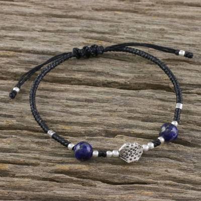 Lapis lazuli beaded pendant bracelet, 'Lucky Lapis' - Adjustable Lapis Lazuli Beaded Bracelet from Thailand