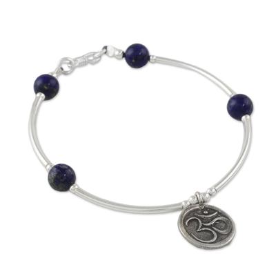 Lapis Lazuli Om Beaded Charm Bracelet from Thailand