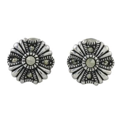 Sterling Silver Marcasite Vintage Inspired Floral Earrings
