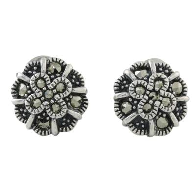 Sterling Silver Marcasite Starry Flowers Stud Earrings