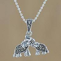 Marcasite pendant necklace, 'Mommy and Me' - Sterling Silver and Faceted Marcasite Thai Elephant Necklace