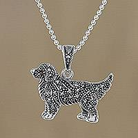 Marcasite and garnet pendant necklace, 'Galaxy Dog' - Sterling Silver Marcasite and Garnet Dog Pendant Necklace