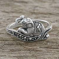 Featured review for Marcasite pave ring, Relaxing Elephant