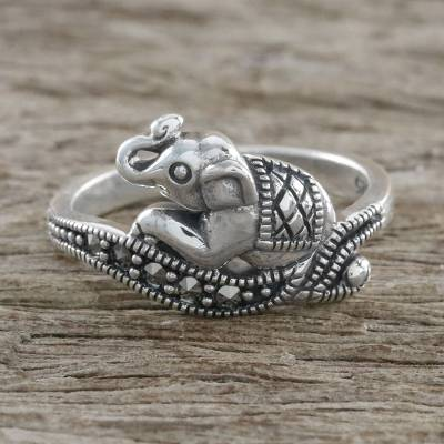 Marcasite pave ring, 'Relaxing Elephant' - Sterling Silver Faceted Marcasite Relaxing Elephant Ring