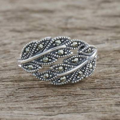Sterling Silver Marcasite Double Olive Leaf Pave Ring