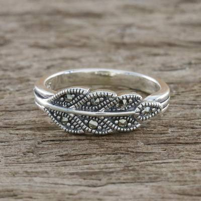 Sterling Silver Marcasite Single Olive Leaf Pave Ring