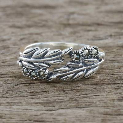 Marcasite pave ring, 'Luminous Garden' - Sterling Silver Luminous Garden Marcasite Pave Ring