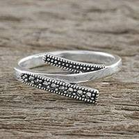 Marcasite cocktail ring, 'Modern Parallel' - Thai Sterling Silver Faceted Marcasite Parallel Lines Ring