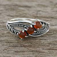 Onyx cocktail ring, 'Eternal Orange' - Sterling Silver Orange Onyx Faceted Marcasite 3-Stone Ring