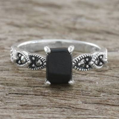 Sterling Silver Starry Midnight Black Onyx Cocktail Ring