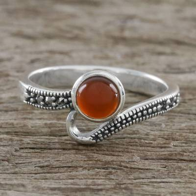 Thai Sterling Silver Marcasite and Orange Onyx Dotted Ring
