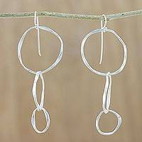 Silver dangle earrings, 'Circle Sway' - Modern Karen Hill Tribe Silver Triple Loop Dangle Earrings