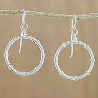 Silver dangle earrings, 'Bamboo Ring' - Karen Hill Tribe Silver Bamboo Ring Dangle Earrings