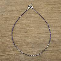 Lapis lazuli beaded necklace, 'Water Line' - Lapis Lazuli and Karen Hill Tribe Silver Beaded Necklace