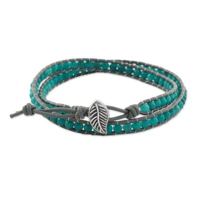 Aqua Blue Quartz and Karen Silver Beaded Wrap Bracelet