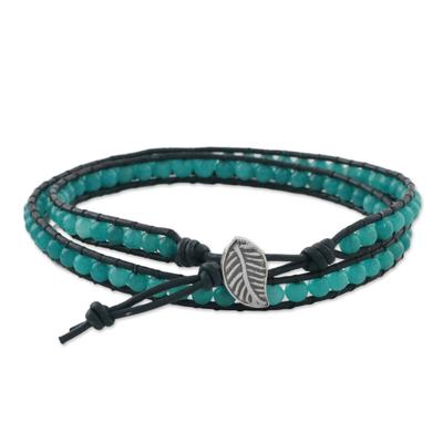 Karen Silver Leaf Aqua Blue Quartz Beaded Wrap Bracelet