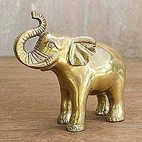 Brass statuette, 'Gleaming Elephant' - Gold-Tone Brass Elephant Statuette from Thailand