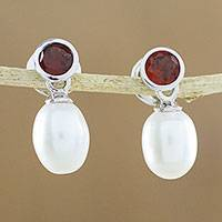 Cultured pearl and garnet dangle earrings, 'Pure Velvet' - Garnet and Cultured Freshwater Pearl Silver Dangle Earrings
