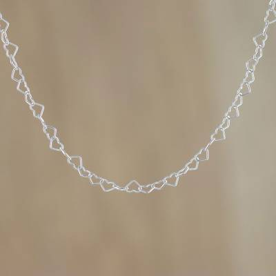 Sterling silver link necklace, 'Lots of Love' (3mm) - Sterling Silver Heart Link Necklace (3mm) from Thailand