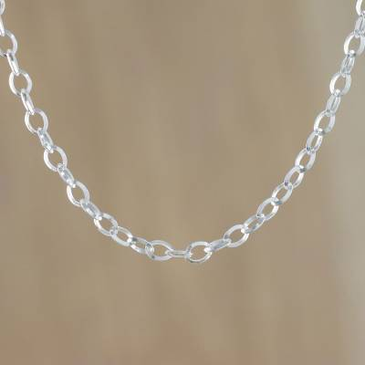 Sterling silver chain necklace, 'Simply Cool' - Simple Sterling Silver Chain Necklace from Thailand