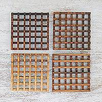 Wood coasters, 'Square Lattice' (set of 4) - Handmade Square Wood Coasters (Set of 4) from Thailand