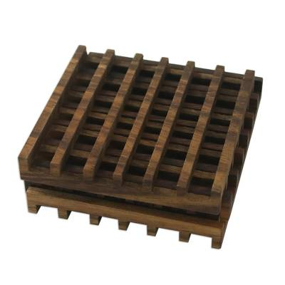 Handmade Square Wood Coasters (Set of 4) from Thailand