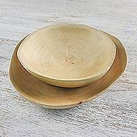 Wood serving dishes, 'Rustic Company' (pair) - Wood Platter and Bowl Handcrafted in Thailand (Pair)