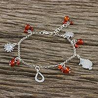 Carnelian charm bracelet,