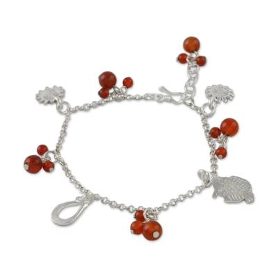 Fish-Themed Carnelian Charm Bracelet from Thailand