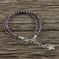 Garnet beaded multistrand bracelet,