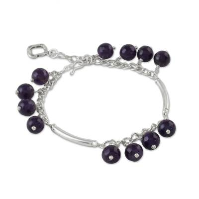 Amethyst and Karen Silver Charm Bracelet from Thailand