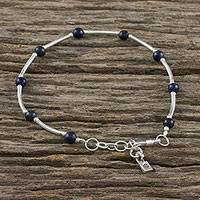 Lapis lazuli beaded bracelet, 'Nighttime Sonata' - Lapis Lazuli and Karen Silver Beaded Bracelet from Thailand