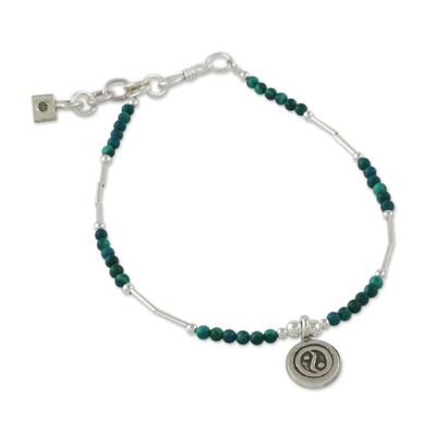 Dyed Green Quartz Beaded Bracelet with Silver Pendant