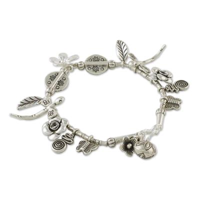 Handcrafted Karen Silver Charm Bracelet from Thailand