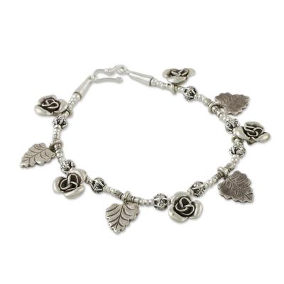 Karen Silver Charm Bracelet with Rose and Leaf Motifs