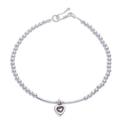 Karen Silver Bracelet with Heart Charm from Thailand