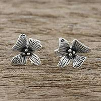 Sterling silver stud earrings, 'Silver Blossoms' - Handcrafted Sterling Silver Floral Stud Earrings