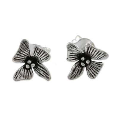 Handcrafted Sterling Silver Floral Stud Earrings