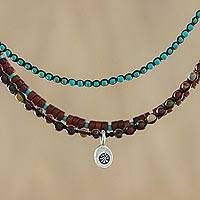 Jasper and calcite beaded pendant necklace,