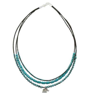 Calcite Bead and Karen Silver Elephant Pendant Necklace