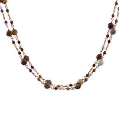 Jasper Bead Copper Long Station Necklaces (Pair)