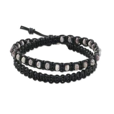 Jasper and Black Leather Wrap Bracelet Silver Button Clasp