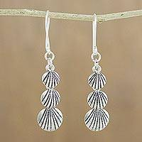 Silver dangle earrings, 'Karen Seashells' - Karen Silver Seashell Dangle Earrings from Thailand