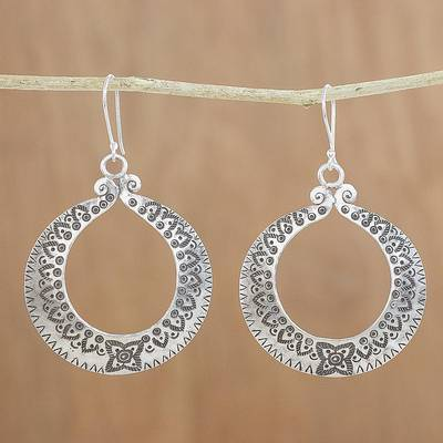 Silver dangle earrings, 'Floral Karen Rings' - Floral Karen Silver Dangle Earrings from Thailand