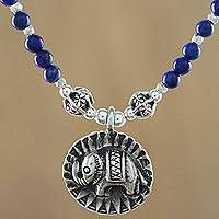 Lapis lazuli beaded pendant necklace, 'Way of the Elephant' - Lapis Lazuli Elephant Beaded Pendant Necklace from Thailand