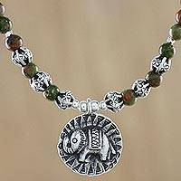 Unakite beaded pendant necklace, 'Way of the Elephant' - Unakite Elephant Beaded Pendant Necklace from Thailand