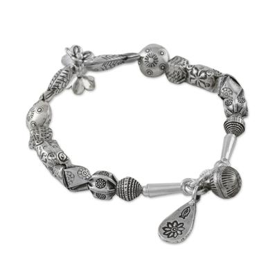 Handcrafted Karen Silver Beaded Bracelet from Thailand